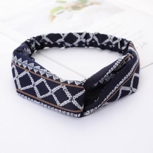Ladies Cross Wide Elastic Fashion Headband - Blue White