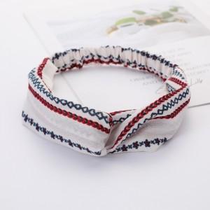 Ladies Cross Wide Elastic Fashion Headband - White