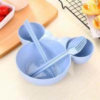 Mickey Minnie Design Children Bowl With Chopsticks And Fork Spoon - Blue