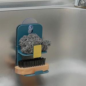 Multi Purpose Kitchen Metal Suction Cup Drain Rack Soap Stand Drying Holder Dish Cloth Shelf Home Storage Organizer - Dark Green