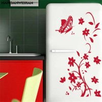 High Quality Bedroom Wardrobe Refrigerator Butterfly Pattern Home Decor Wall Sticker - Red