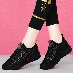 Lace Closure Mesh Breathable Plastic Sole Sneakers - Black