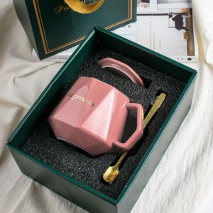 Ceramic Fancy Carved Style Coffee Mug - Pink