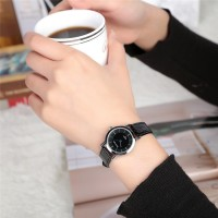 Ladies Casual PU Band Quartz Watch - Black