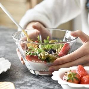 Round Shape Geometrical High Quality Molded Salad Bowl - Transparent