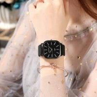 Ladies Casual Wide Band Quartz Watch - Black