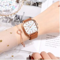 Ladies Casual Wide Band Quartz Watch - Brown