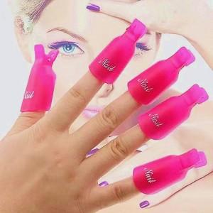 10 Pcs Nail Polish Remover Clip - Pink