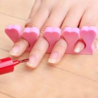 2 Pieces Heart High Elastic Nail Toe Separator - Pink
