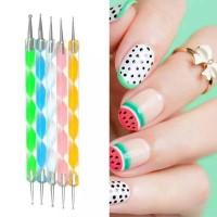 Double Headed Diamond Pen 5 Pieces Set Nail Tool - Multi Color
