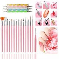 15 Pcs Nail Brush Kit Plus 5 Pcs Diamond Pen Set - Multi Color