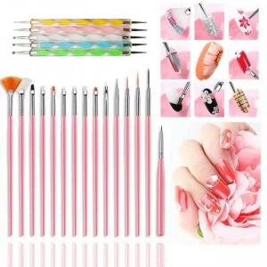 15 Pcs Nail Brush Kit Plus 5 Pcs Diamond Pen Set - Multi Color