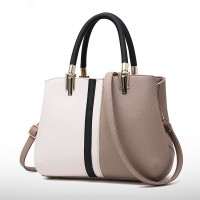 Double Handle Formal Women Fashion Elegant Handbags - Khaki