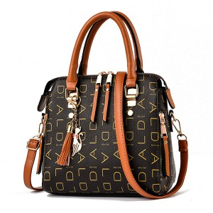 Alphabetic Printed Zupper Closure Tassel Handbags - Brown