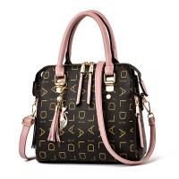 Alphabetic Printed Zupper Closure Tassel Handbags - Pink