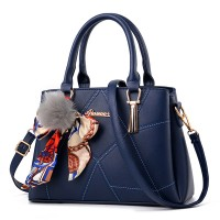Furry Ball Ribbon Geometric Pattern Fancy Handbags - Blue