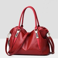 Synthetic Leather Elegant Luxury Fine Quality Women Handbags - Red