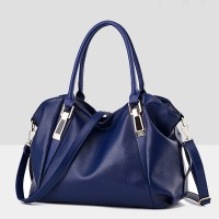 Synthetic Leather Elegant Luxury Fine Quality Women Handbags - Blue