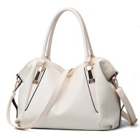 Synthetic Leather Elegant Luxury Fine Quality Women Handbags - White
