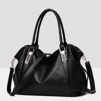 Synthetic Leather Elegant Luxury Fine Quality Women Handbags - Black