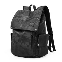 Camouflage Vintage Zipper Closure Outdoor Nylon Fabric Unisex Backpacks - Black