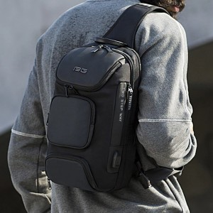 Zipper Closure Multi Pockets Smart Modern Unisex Backpacks - Gray
