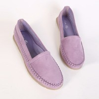 Suede Slip Over Solid Color Fancy Wear Flat Shoes - Purple