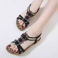 Bohemian Decorative Strap Flat Slip Over Sandals - Black