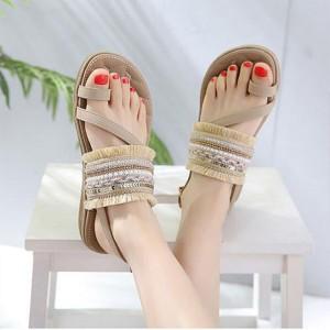 Tassel Decorative Bohemian Flat Party Wear Sandals - Khaki
