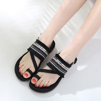 Tassel Decorative Bohemian Flat Party Wear Sandals - Black