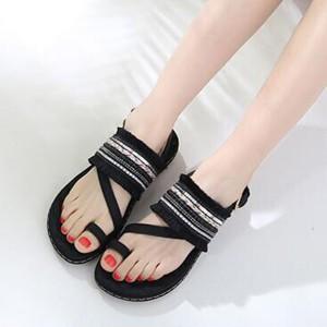 Tassel Decorative Bohemian Flat Party Wear Sandals - Black
