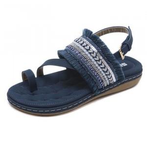 Tassel Decorative Bohemian Flat Party Wear Sandals - Blue
