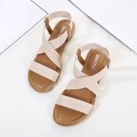 Cross Strapped Slip Over Sobar Plain Sandals - Khaki