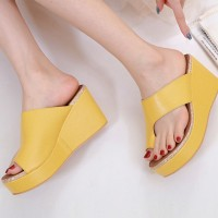 High Heel Thick Bottom Platform Solid Color Heel Sandals - Yellow