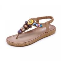Bohemian Stretchable Slip Over Comfortable Flat Sandals - Khaki