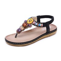 Bohemian Stretchable Slip Over Comfortable Flat Sandals - Black