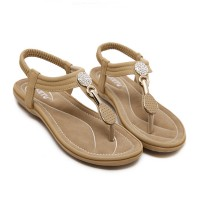 Crystal Patched Stretchable Slip Over Flat Sandals - Khaki