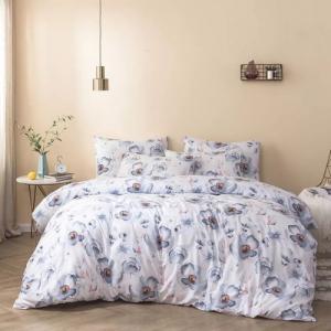 King Size Duvet Cover Purple Floral Design Bed Sheet Set of 6 Pieces