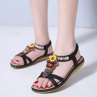 Cross Strap Bohemian Stretchable Slip Over Comfortable Flat Sandals - Black