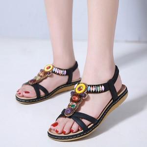 Cross Strap Bohemian Stretchable Slip Over Comfortable Flat Sandals - Black