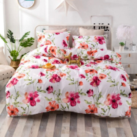 Queen/Double Size, Duvet Cover, Bed Sheet  Set of 6 Pieces,  Pink Floral Design