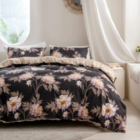 Queen/Double Size, Duvet Cover, Bed Sheet  Set of 6 Pieces, Brown with  Floral Design