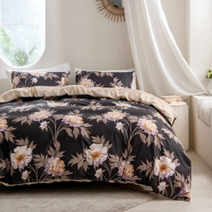 Queen / Double Size Duvet Cover Brown With Floral Design Bed Sheet Set of 6 Pieces