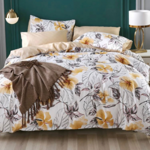 King Size Duvet Cover Yellow Flower Design Bed Sheet Set of 6 Pieces
