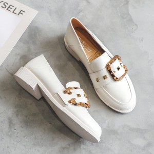Synthetic Leather Buckle Fancy High Quality Flat Shoes - White