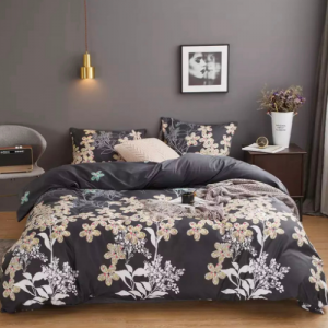 King Size Duvet Cover Bed Sheet Set of 6 Pieces Flower and Leaves Design