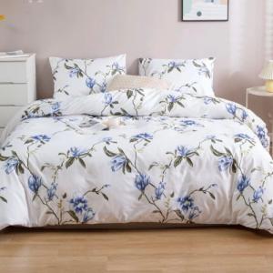 Queen / Double Size Duvet Cover Flower Design Bed Sheet Set of 6 Pieces