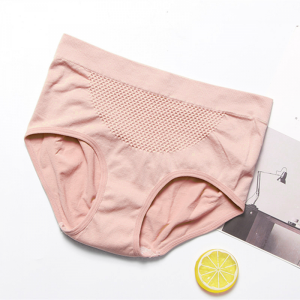 Solid Color Stretchable Elastic Waist Underwear - Pink