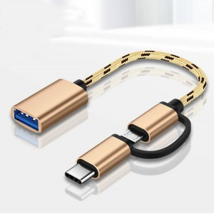 2 in 1 USB 3.0 OTG Data Transfer Cable - Golden
