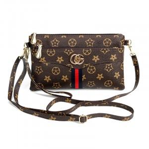 Designers Printed Zipper Closure Adjustable Messenger Bags - Brown